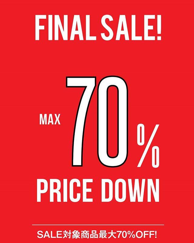 【FINAL SALE】本日よりFINAL  SALEの開催です。・SALE対象商品最大70%OFF︎一点物も多く、数に限りが出て来ていますので早めのお買い求めをお勧めします!是非この機会に遊びに来てくださいね!・